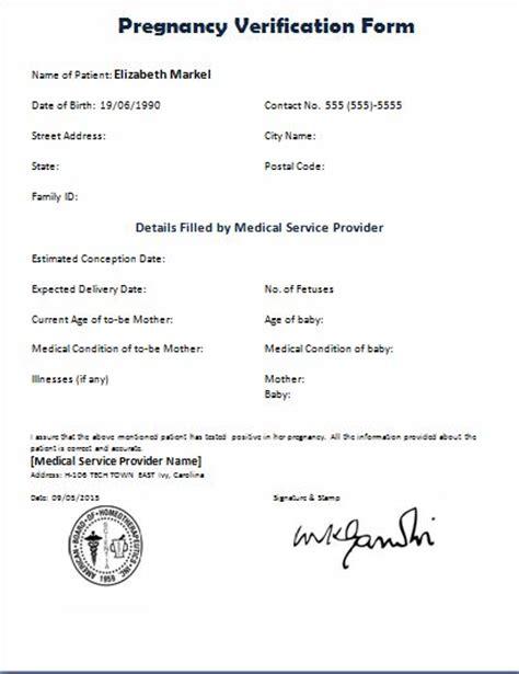 formal pregnancy verification form printable medical