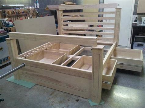 double wooden bed  storage woodworking project top wood plans