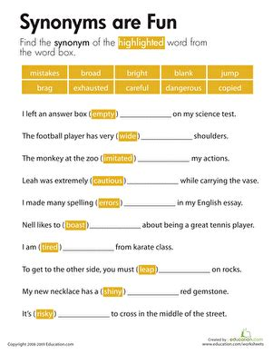 synonyms are worksheet education