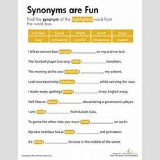 Synonyms Are Fun  Worksheet Educationcom