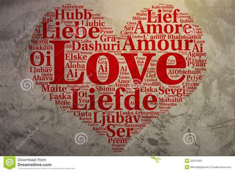 Liebe Herz Formte Wortwolke Liebe, Schmutzhintergrund Stock Abbildung