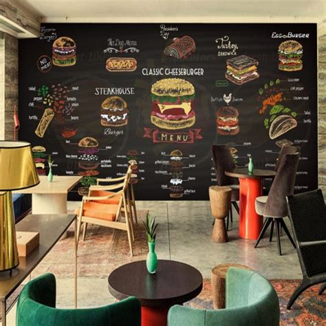custom mural hand painted colored chalk burger picture