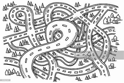 Clipart Map Drawing Roads Above Vector Illustrations