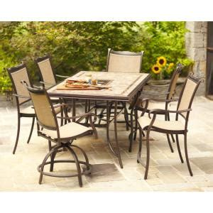 hton bay westbury 7 sling patio high dining set