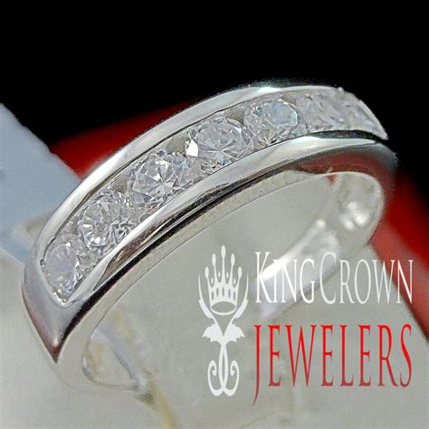 mens real sterling silver white gold finish wedding engagement ring band ebay