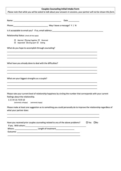 initial intake form couples counseling initial intake form printable pdf download