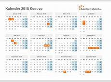 Feiertage 2018 Kosovo Kalender & Übersicht