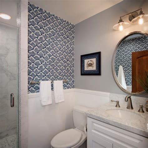 blue  gray coastal bathroom  wave wallpaper hgtv