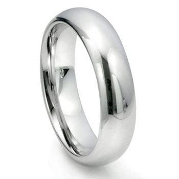 White Tungsten Carbide 6mm Plain Dome Wedding Ring