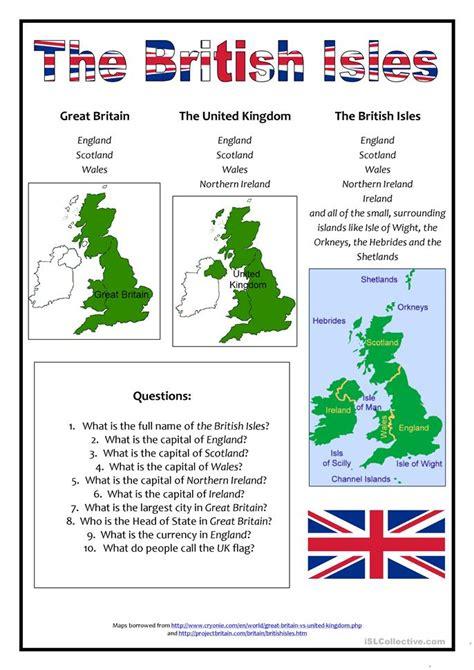 british isles worksheet  esl printable