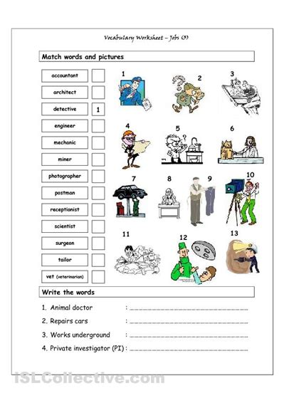 vocabulary matching worksheet jobs  esl matching
