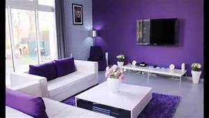 decoration salon avec des accents violets youtube With deco salon design blanc