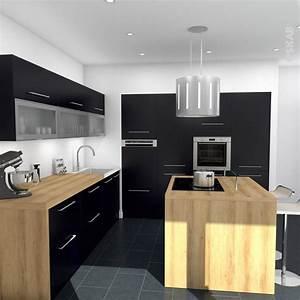 Idee relooking cuisine cuisine noire mat avec ilot for Idee deco cuisine avec meuble de cuisine modele