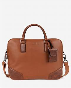 Lyst ted baker leather document bag in brown for men for Leather document files bags