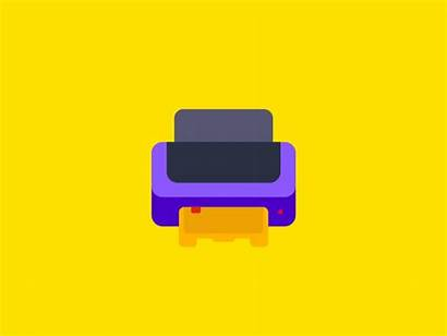 Printer Dribbble Icon Graphics Flat Creative Motion