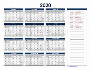 2020 Yearly Calendar Word 2020 Ireland Yearly Excel Calendar Free Printable Templates