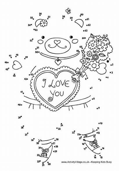 Dot Valentine Valentines Pages Teddy Dots Coloring