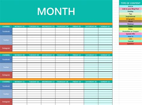 social media schedule template social media calendar template shatterlion info