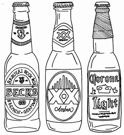 Beer Bottle Drawing Line Coloring Drawings Pages