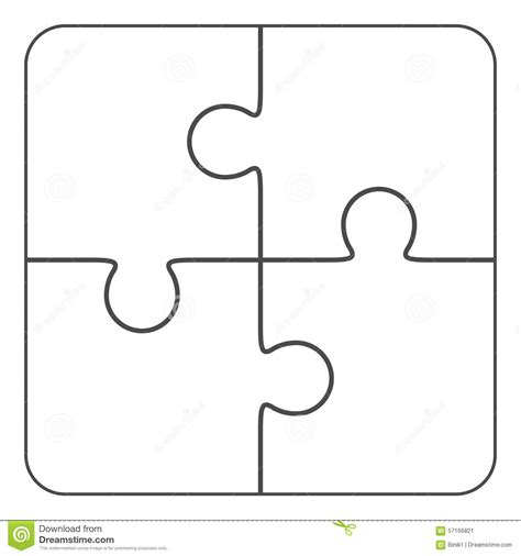 4 puzzle template jigsaw puzzle blank 2x2 four pieces stock illustration image 57166821