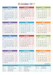2017 Yearly Calendar Printable PDF