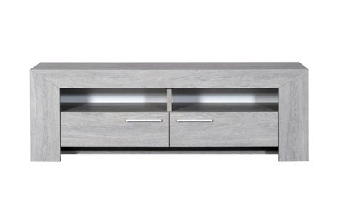chambre adulte bois massif meuble tv 2 tiroirs 2 niches chêne gris clair