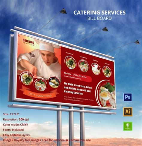 catering services billboard mockup  premium templates