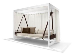 modern white stained wooden canopy swing day bed with brown sling and mattress also