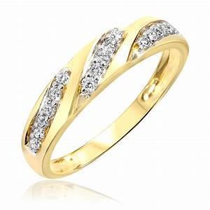 1 2 carat tw diamond ladies39 and men39s wedding rings 10k for Mens wedding rings yellow gold