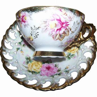 Pretty Roses Yellow Tea Cup Reticulated Ware