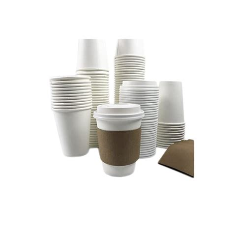 Kaboyas disposable paper coffee cups with lids brown 12oz 100 pack. 50 Sets 12oz Disposable Hot White Paper Cups with Lids and ...