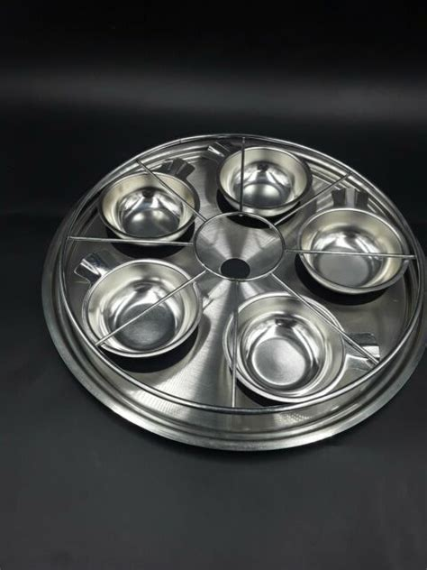 vintage stainless steel egg poacher bundle  cups insert tray fits  pan ebay