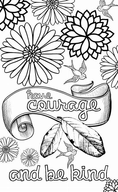 Coloring Quote Pages Adults Teens Courage