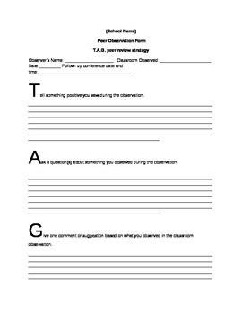 peer observation template classroom observation teacher