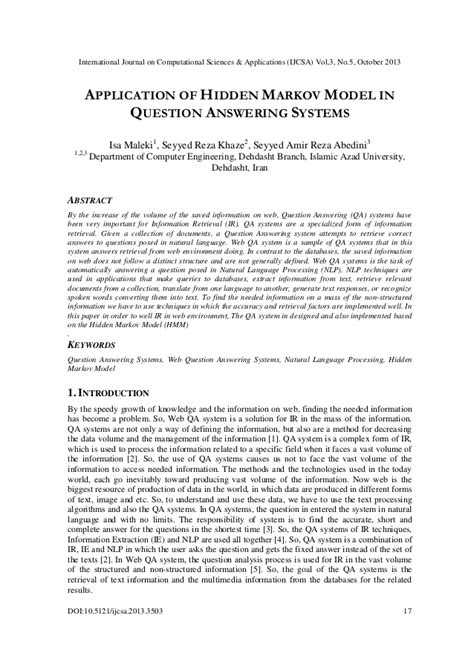 Application of hidden markov model in question answering