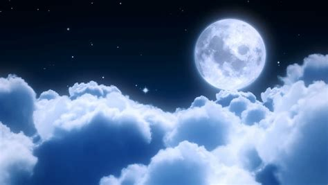 Animated Moon Wallpaper - flying the clouds in the with the moon
