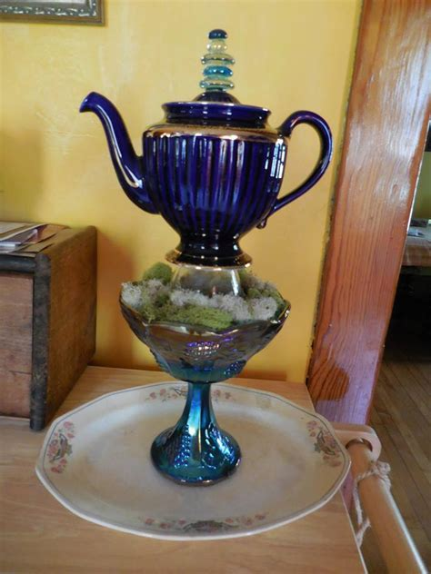 Hometalk   Garden Art From Vintage Teapot and Dishes