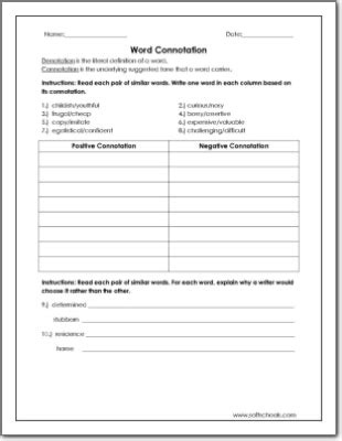 all worksheets 187 connotation and denotation worksheets for