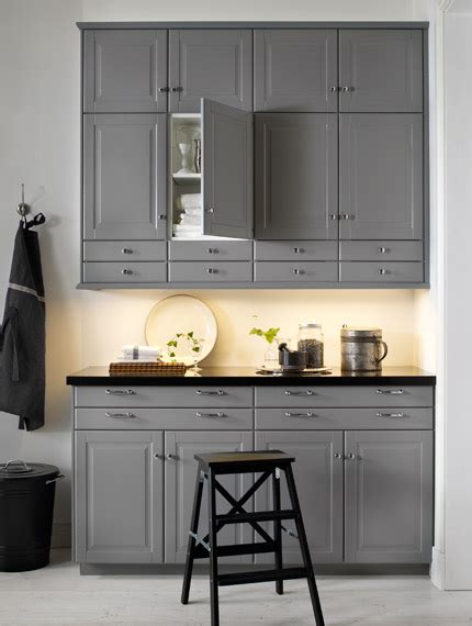 ikea gray kitchen cabinets a traditional l shaped kitchen with grey cabinets design