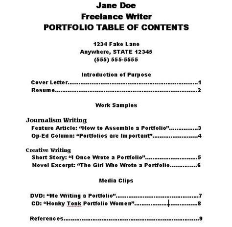 work portfolio template how to make a portfolio table of contents ehow