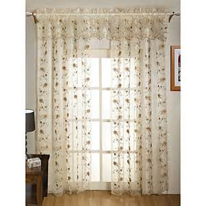 madeline sheer embroidered leaf window curtain panel and