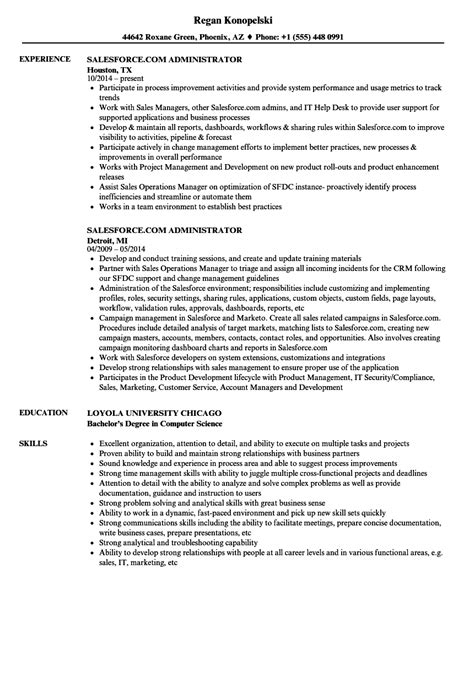 Salesforce administrator cv examples August 2020