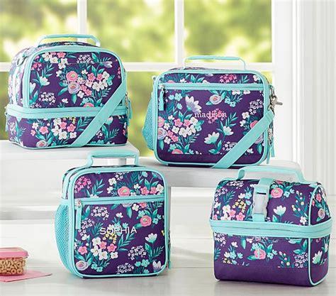 pottery barn lunch box mackenzie purple flower bouquet lunch bag pottery barn