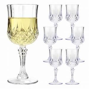 6, X, Vintage, Crystal, Wine, Glasses, Plastic, Picnic, Marine, Acrylic, Garden, Goblet