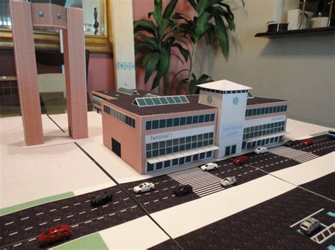 scale model airport brick terminal building
