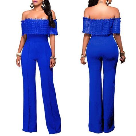 blue jumpsuits shoulder lace top jumpsuit addicted2fashion