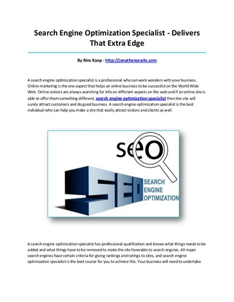 Search Engine Optimisation Specialist by Search Engine Optimization Specialist