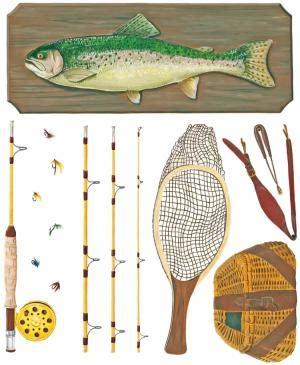 Fly Fishing Kit  Tatouage Dry Rub Transfer