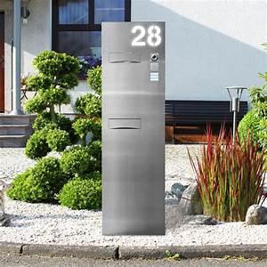 Briefkasten Freistehend Mit Hausnummer : edelstahl briefkastensaeule beleuchtet thorwa metalldesign ~ Sanjose-hotels-ca.com Haus und Dekorationen