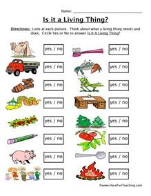 free living and nonliving things worksheets